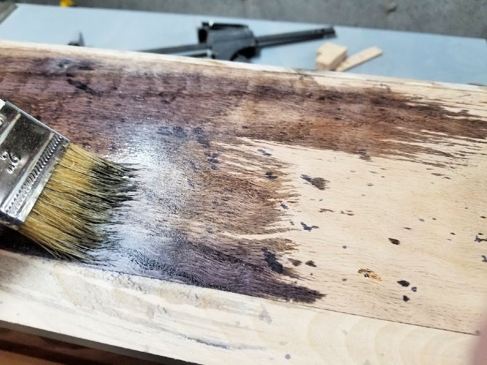 Vinegar & Steel Wool Stain On Red Oak from Home Depot