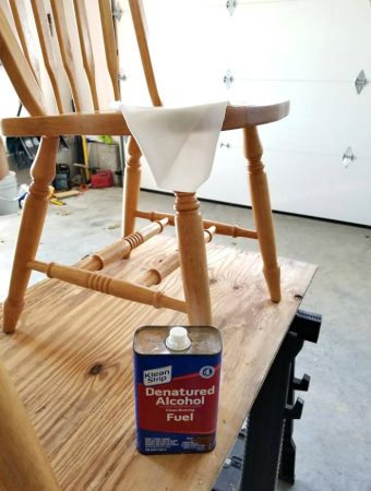 Cleaning chair with denatured alcohol