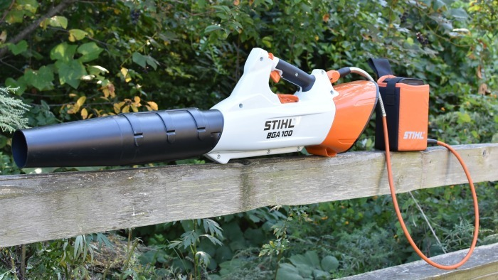 Stihl BGA 100 Battery Blower. Nozzle in focus.