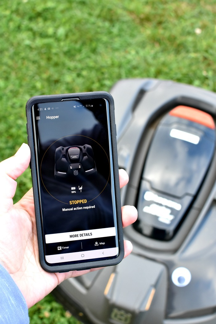 Showing the Automower Connect app