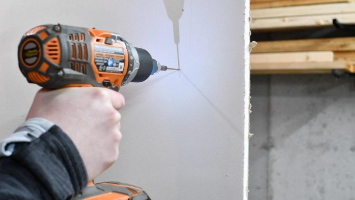 drilling into a wall stud