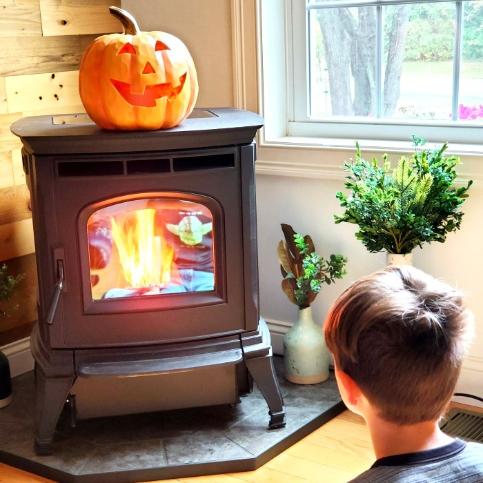 Harman Pellet stove with pumpkin
